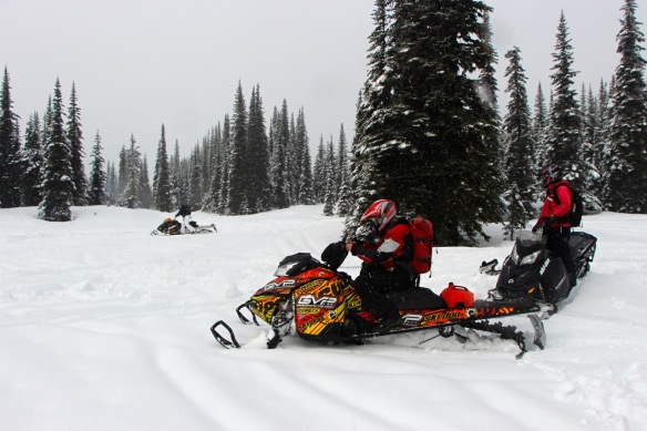 "Mike taking a breather on his newly acquired 163"" Summit Demo Sled form GVP."